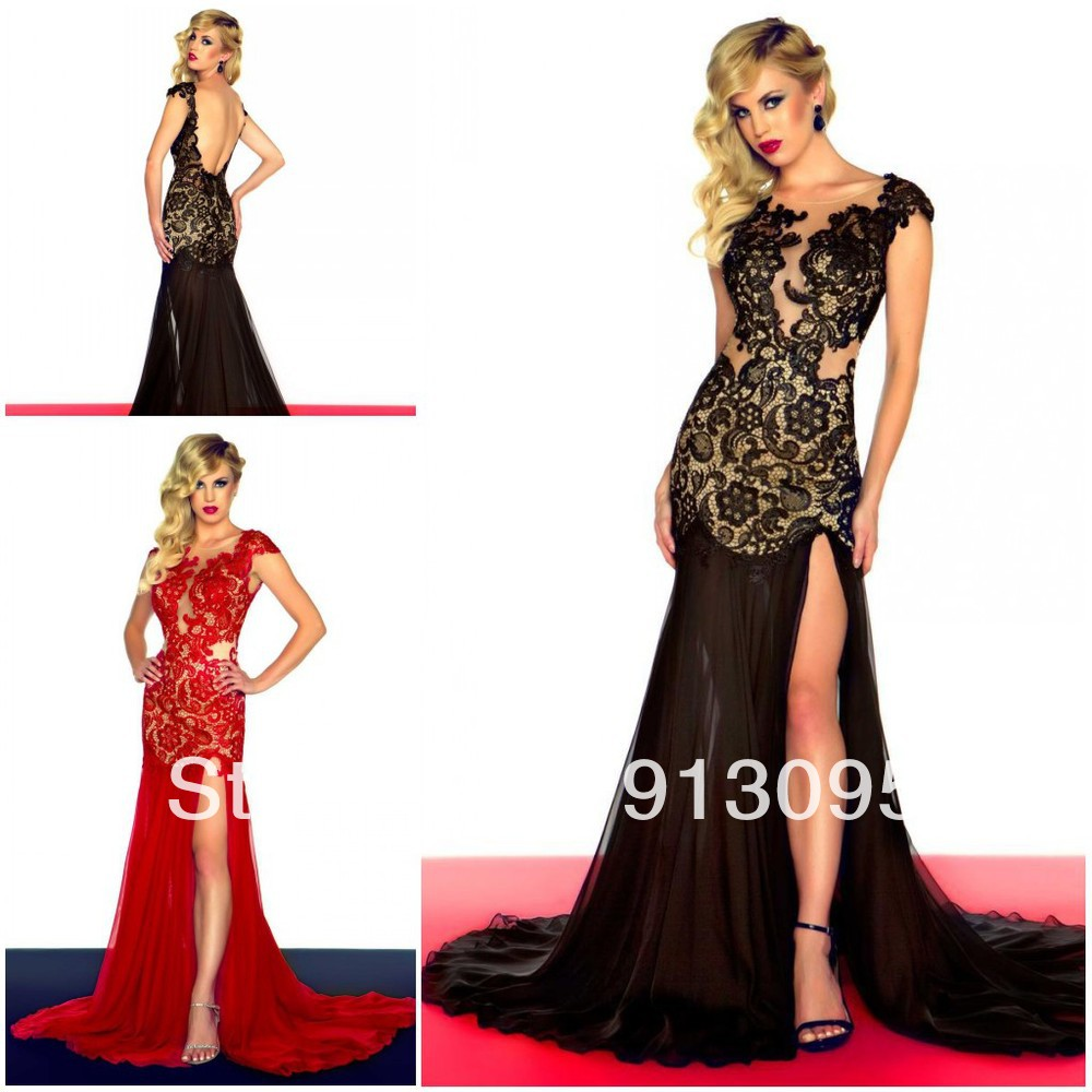 Aliexpress.com : Buy 2013 Sexy Open back Red/black lace Special Occasions prom dress high Slit Deep V neck see through evening dresses Free shipping from Reliable dress fashion -winter suppliers on Suzhou dreamybridal Co.,LTD
