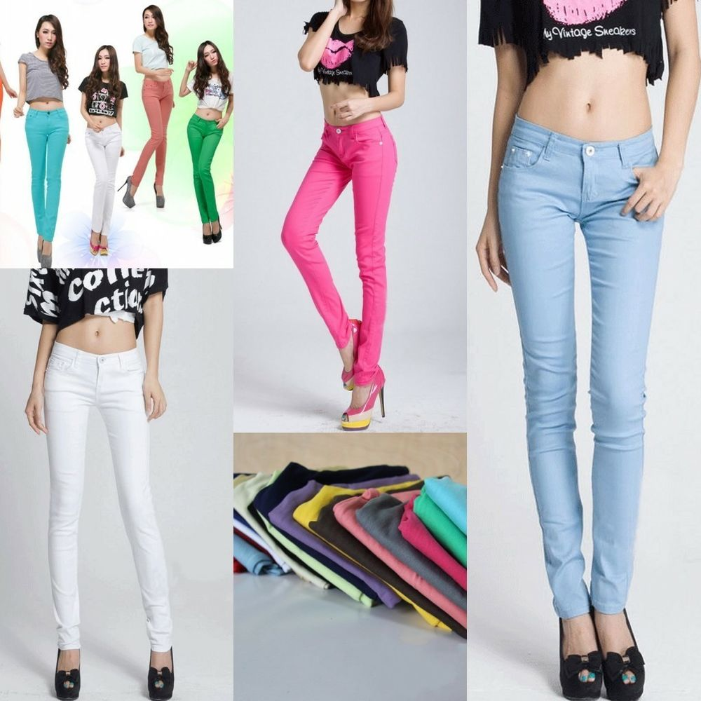 New Candy Color Womens Stretch Pencil Pants Casual Slim Skinny ...