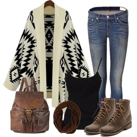 bag jeans tank autumn boots cardigan sweater