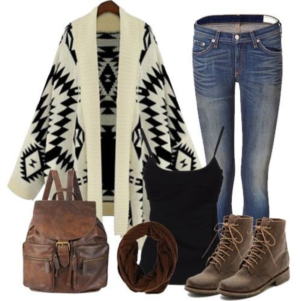 bag fall outfits boots cardigan tank top jeans sweater