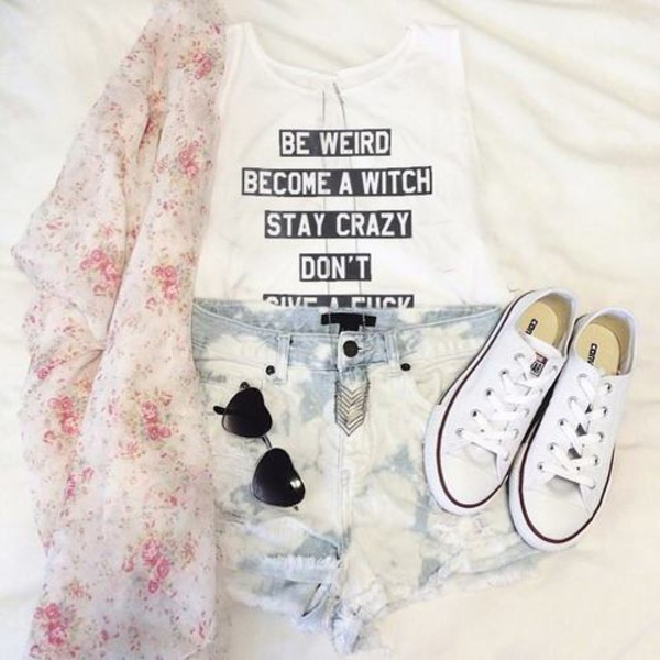 t-shirt statement tees white white t-shirt top quote on it flower cardigan