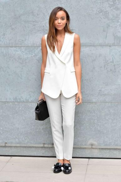 pants fashion week 2014 white ashley madekwe vest suit