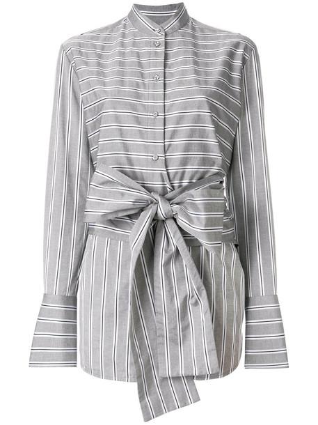 Victoria Victoria Beckham - striped tied shirt - women - Silk/Cotton - 12, Grey, Silk/Cotton