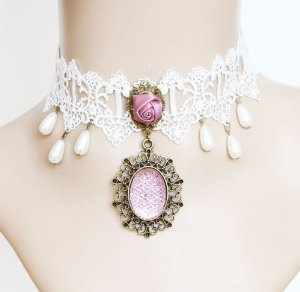 Amazon.com: 80store White Lace Chic Necklace Vampire Cospaly Wedding Costume Choker Adjustable Size Pearl Pendant: Beauty