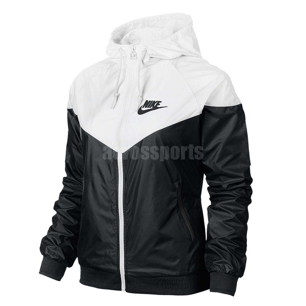 ASIAN SIZE Nike AS Windrunner White Black Windbreaker Womens Jacket 545909-011