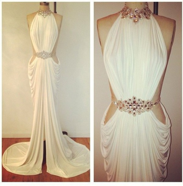 white dres prom dress 2014 dress sale dress cut-out dress backless dress open back dresses halter dress beaded dress dress