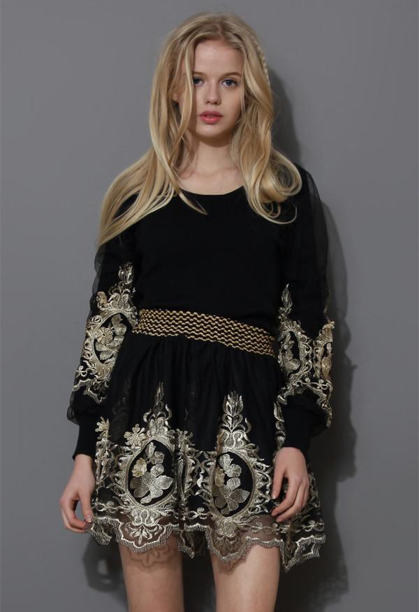 dress baroque golden embroidery top skater skirt