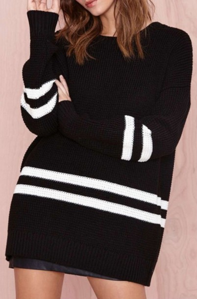dress sweater black dress fashion style long sleeves trendy casual sweater dress black and white beautifulhalo