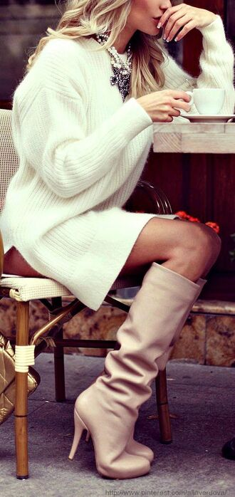 date outfit shoes winter outfits leather boots statement necklace sweater dress knitted dress dress white white dress white sweater style pretty fashion fall sweater boots sweater cream sweater white sweater dress