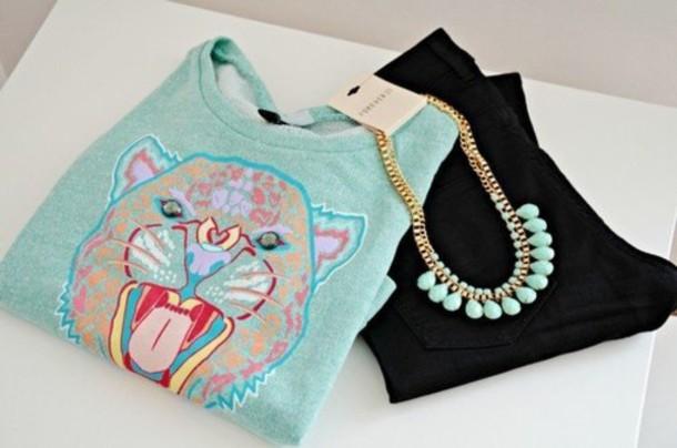sweater mint sweetshot blue paste blue pastel tiger kenzo kenzo sweater necklace black sweatshirt shirt winter outfits winter sweater