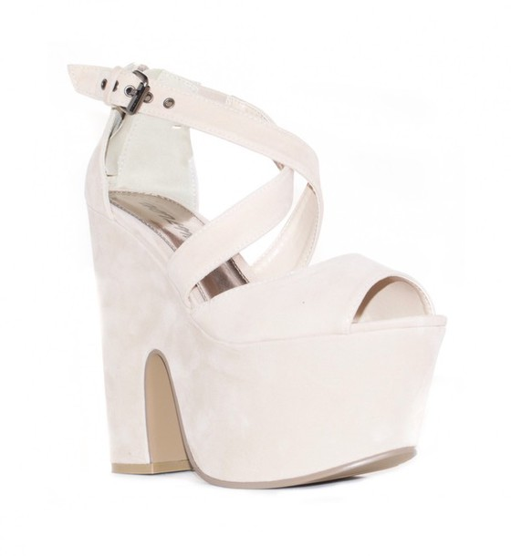 shoes white high heels wedges