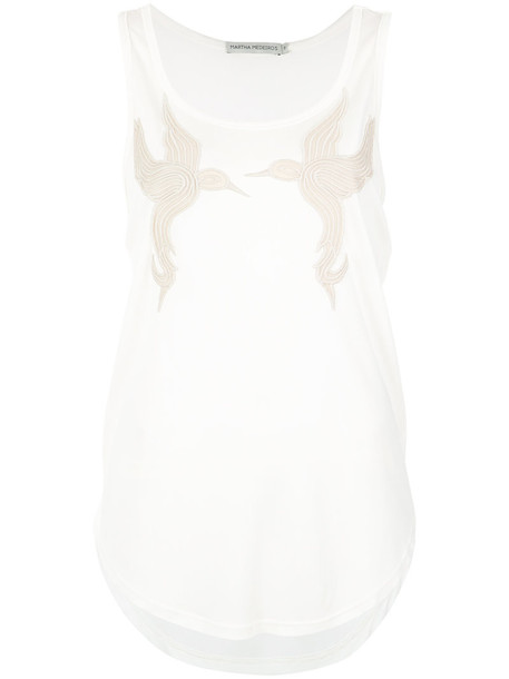 MARTHA MEDEIROS tank top top birds women white cotton