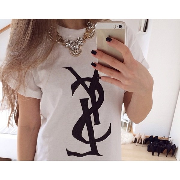shirt hot blogger yves saint laurent ysl shirt t-shirt nail polish black white iphone tumblr girl necklace jewels white ysl shirt white ysl t shirt