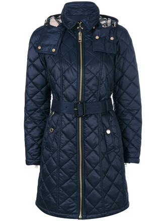 coat zip women quilted blue