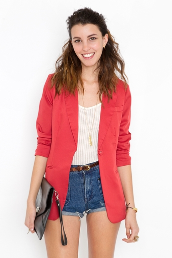 Red in  clothes outerwear blazers at nasty gal