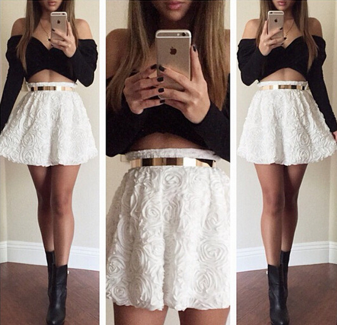 Cute top and skirt two piece hot dress