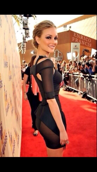 dress blair waldorf leighton meester little black dress black mini dress gossip girl sheer dress black sheer short party dresses sexy dress black cut out dress side cutout
