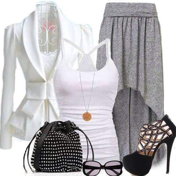 skirt grey grey skirt long sleeves
