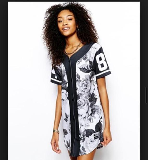 Shirt jersey baseball jersey dress wheretoget for Baseball jersey shirt dress