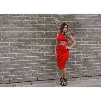 dress mischievous socialite red bodycon midi knee lenght lace up cut-out sexy