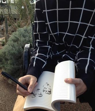 sweater grid black aesthetic shirt white squares windowpane black and white ligne sweat crewneck tumblr trendy pretty hot celebrity celebrity style checkered shirt checkered