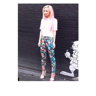floral print trousers blue pants jeans multi colored summer blue pink flowers