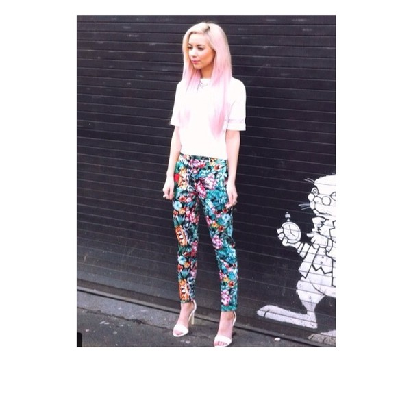 floral print trousers blue pants jeans multicolor summer blue pink flowers