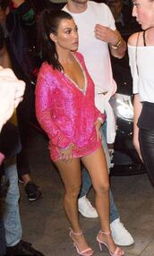 dress,plunge dress,plunge v neck,pink,pink dress,sandals,kourtney kardashian,kardashians,mini dress,cannes,shoes