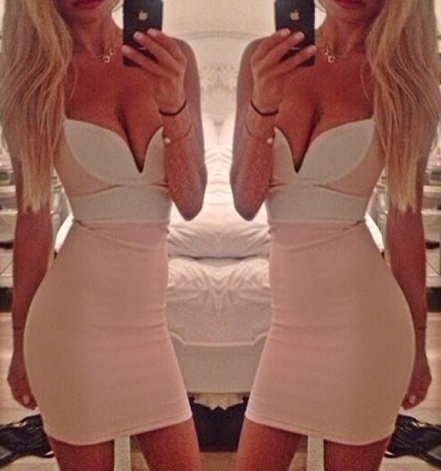Contrast deep v sexy dress
