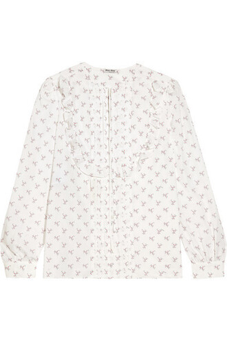 blouse ruffle white cotton top