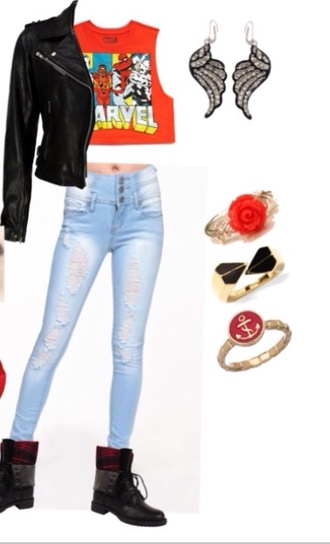 shirt marvel crop top angle wing earrings gold and red anchor ring black and gold ring rose gold ring leather jacket black combat boots denim shoes jeans ripped