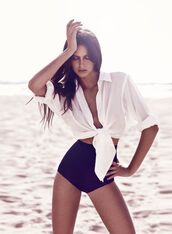swimwear,bikini,black,white,blouse,beach,top