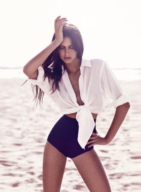 swimwear bikini black white blouse beach swimwear top