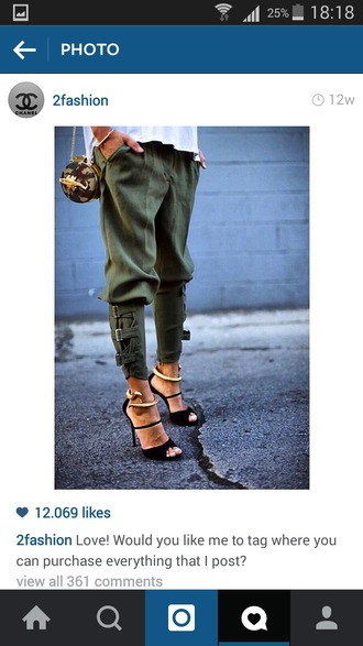 shoes leather military style army green pants leggings dope heels snake gold bag