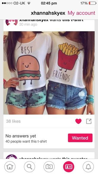 shirt bff shirts bff t-shirt summer shirt top fries and hamburger tank top shorts