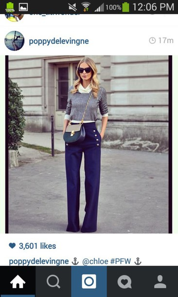 pants blue flowy pants