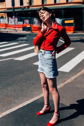 jacket tumblr red jacket skirt mini skirt blue skirt denim skirt sandals red shoes frayed denim cropped jacket ankle strap heels