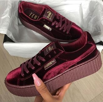 shoes puma velvet burgundy creepers red puma creepers