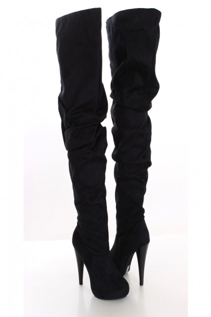 Faux Suede Thigh High Heel Boots / Sexy Clubwear | Party Dresses ...