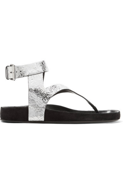 Isabel Marant metallic sandals leather sandals silver leather shoes