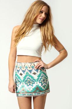 Bardot aztec multi sequin mini skirt at boohoo.com