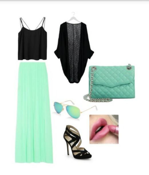 cardigan top purse shoes sunglasses bag blouse
