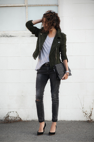 alterations needed blogger jacket shoes bag jewels belt suede jacket stripes striped top skinny jeans black jeans black heels ripped jeans clutch date outfit black stilettos madewell banana republic proenza schouler army green jacket cuffed jeans