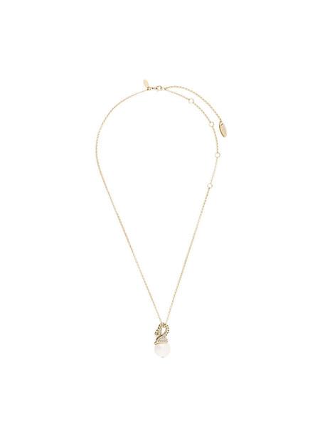 lanvin short women embellished necklace grey metallic jewels