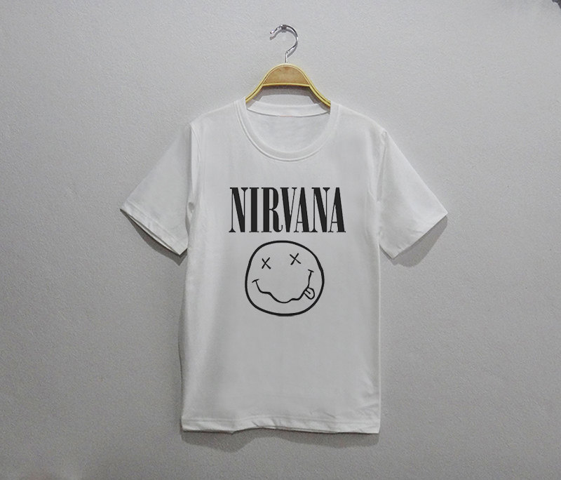 Nirvana tee shirt white unisex for How to get foundation out of a white shirt