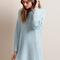 Baby blue v-neck back cable knit sweater