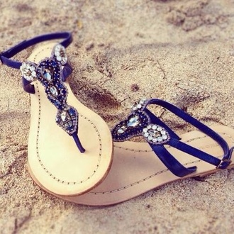 shoes sandals blue glamour