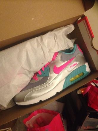 shoes silver hot pink teal air max shirt