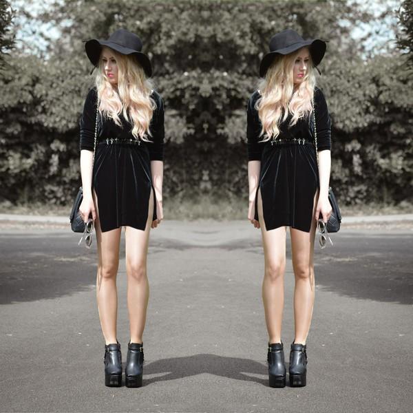 sammi jackson black black boots grunge velvet indie boho boho chic hipster dress