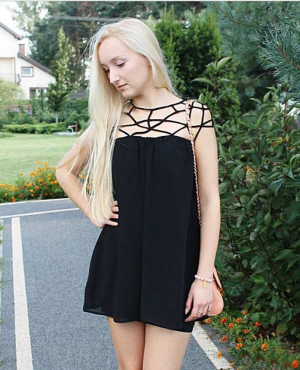 dress black mesh cut-out chiffon little black dress